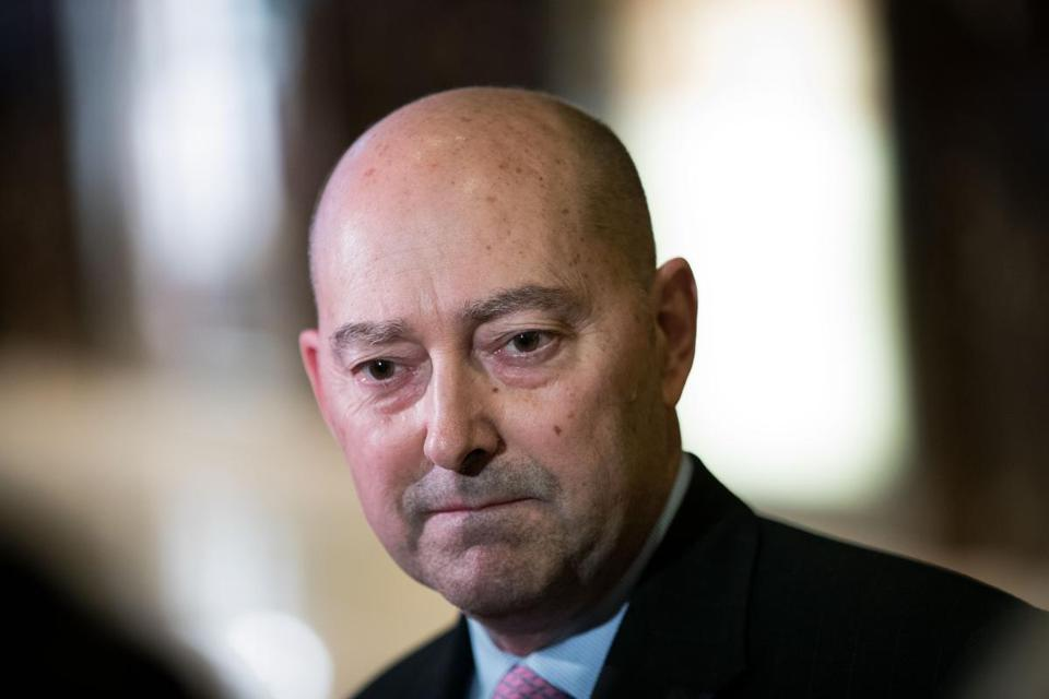 NEW YORK, NY - DECEMBER 8: James 'Jim' Stavridis, retired U.S. Navy admiral and the current dean of the Fletcher School of Law and Diplomacy at Tufts University, speaks to reporters at Trump Tower, December 8, 2016 in New York City. President-elect Donald Trump and his transition team are in the process of filling cabinet and other high level positions for the new administration. (Photo by Drew Angerer/Getty Images)