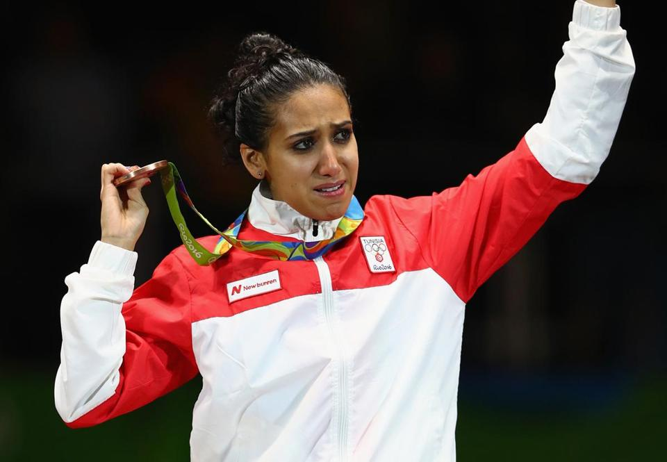 Tunisian fencer Ines Boubakri won a bronze medal at the Rio Games and made a statement.