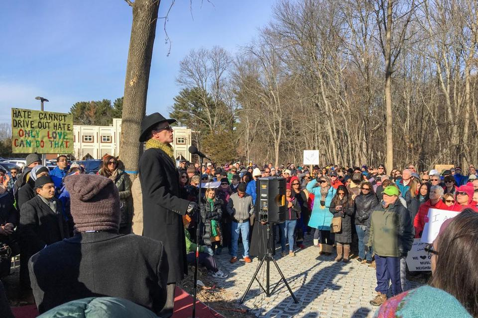 Outside the Islamic Center of Boston in Wayland, Rabbi Douglas Kohn of Temple Shir Tikva addressed the crowd at an interfaith rally of support for the Muslim community.