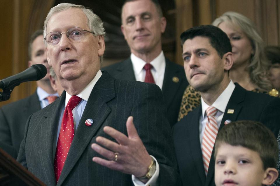 The comments by Senate Majority Leader Mitch McConnell and House Speaker Paul Ryan (right) are a major break with the president-elect.