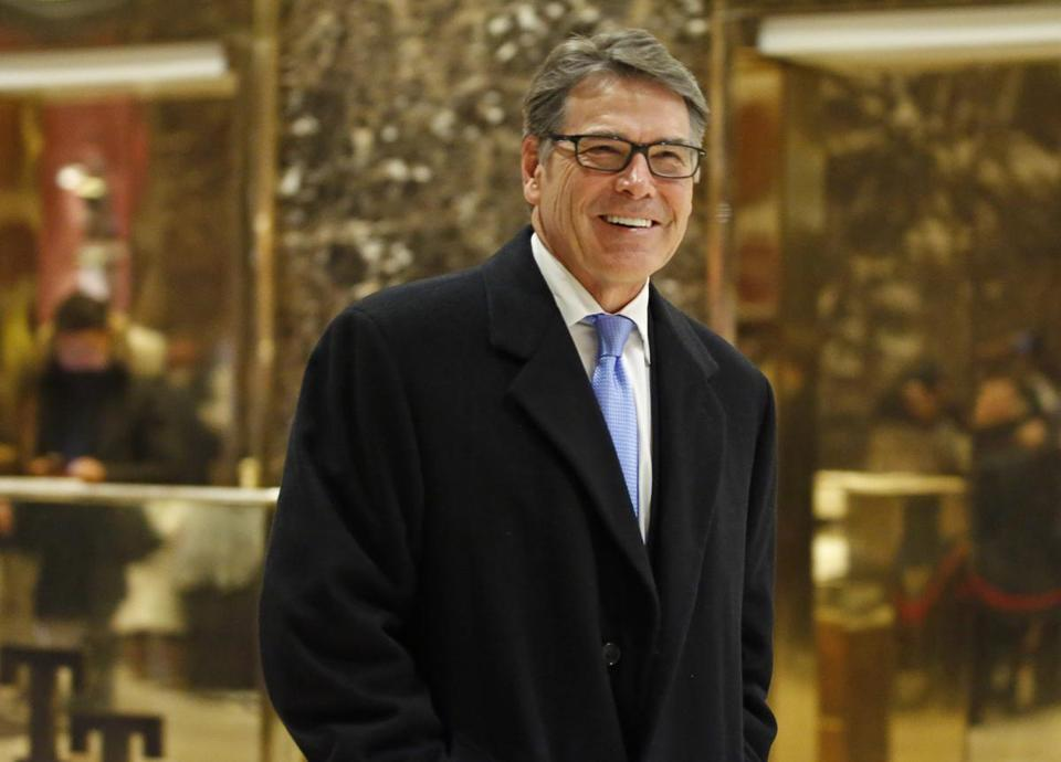 Rick Perry smiled as he left Trump Tower.