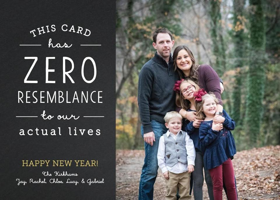 The kirkham familys holiday card reflects the messy reality of life with small children