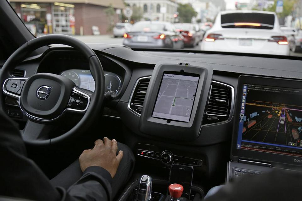An Uber driverless car during a test drive in San Francisco earlier this week.