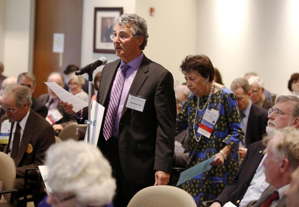 Dr. Roger Kligler testifed in front of the Mass Medical Society as during a hearing to ask the Society to consider conducting a Medical Aid-in-Dying Survey as Dr. Barbara Rockett looked on.