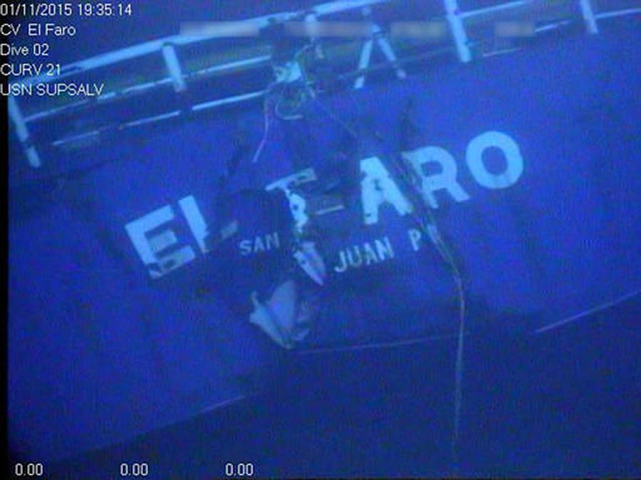 This undated image made from a video by the National Transpor-tation Safety Board shows the stern of the sunken ship El Faro.