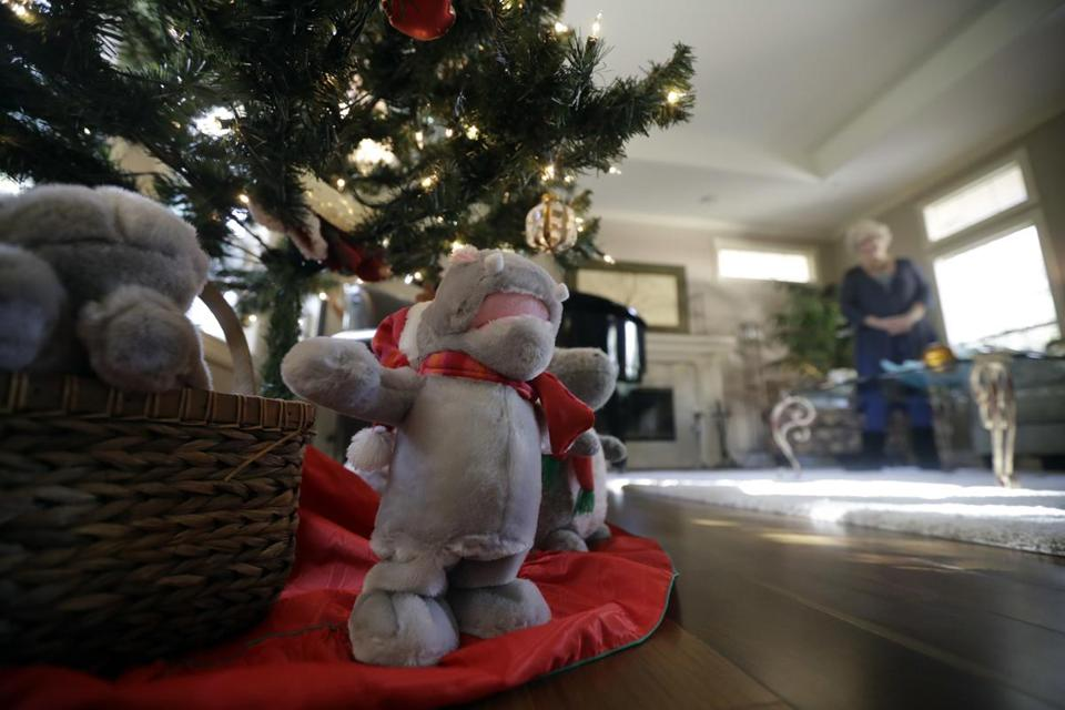 "Gayla Peevey, singer of that enduring Christmas classic, ""I Want a Hippopotamus For Christmas,"" stands behind stuffed animal hippopotamuses under her Christmas tree in her home Wednesday, Dec. 14, 2016, in La Mesa, Calif. It was 1953, and one of the hottest songs on the radio was ""I Want a Hippopotamus For Christmas."" Now it's Christmas 2016, and Peevey is still singing. She leaves that to schoolchildren, ringtones, iTunes downloads and TV commercials that, to the 73-year-old singer's amazement, keep the song in everyone's head every Christmas season, whether they want it there or not. (AP Photo/Gregory Bull)"