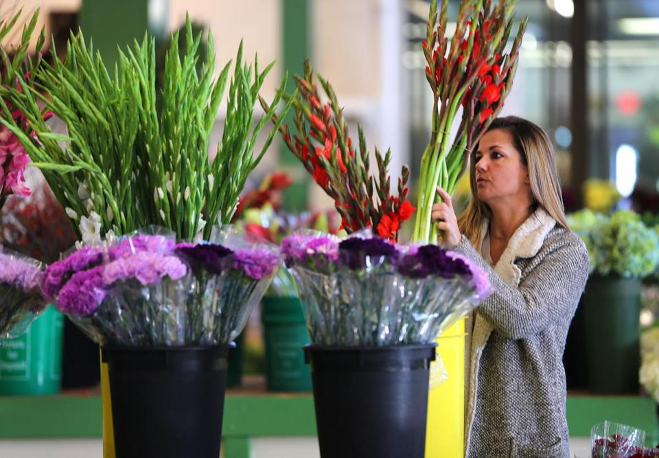 Boston-12/16/2016- The Boston Flower Exchange is in it's last days at their location at 540 Albany Street before closing. Most vendors will move to Chelsea in February. Beth Goodchild a florist at the Kendall Flower Shop in Cambridge picks some gladiolus from R.J Carbone's. John Tlumacki/Globe Staff (business)