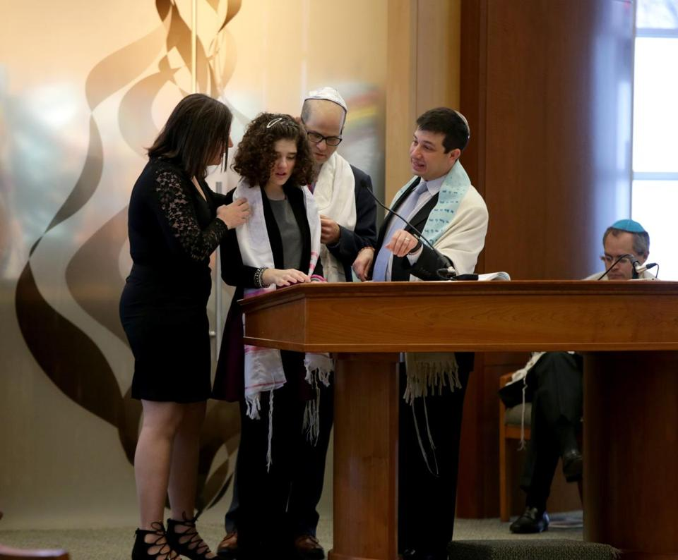 Zoe Spiegel was joined by her parents at her bat mitzvah at Temple Beth Shalom.