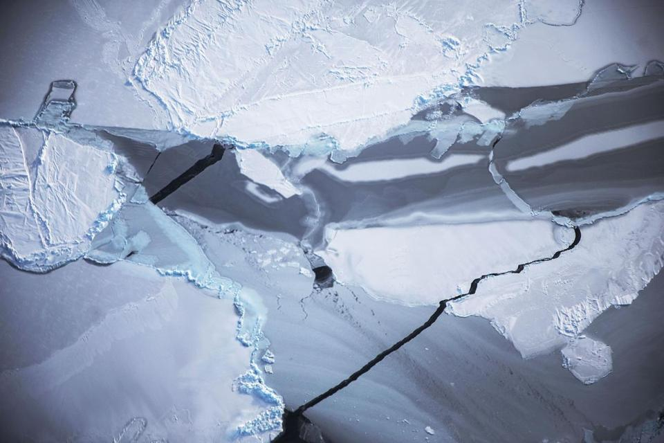 Ice near the coast of West Antarctica is photographed froma NASA airplane on Oct. 27, 2016. Researchers have also used satellite data to study ice movement.