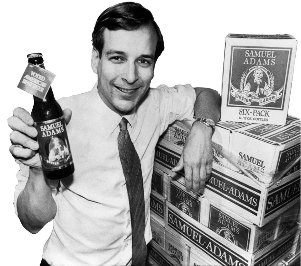 Jim Koch, Boston Beer Co. founder, struck a classic pose in 1997 with Samuel Adams beer.