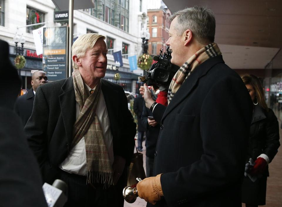 Former governor Bill Weld dropped by to make a donation as Governor Charlie Baker rang the Salvation Army bell in Downtown Crossing in December 2016.