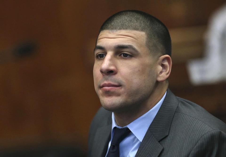 Former New England Patriots tight end Aaron Hernandez appeared during a hearing at Suffolk Superior Court Tuesday.