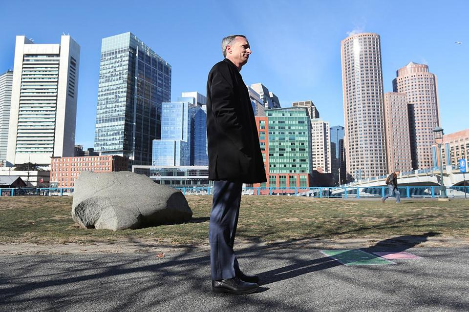 Boston, MA., 12/19/16, Bill Richard, father of bombing victim Martin Richard, tours the site of what will be Martin's Park in Seaport District. Suzanne Kreiter/Globe staff)