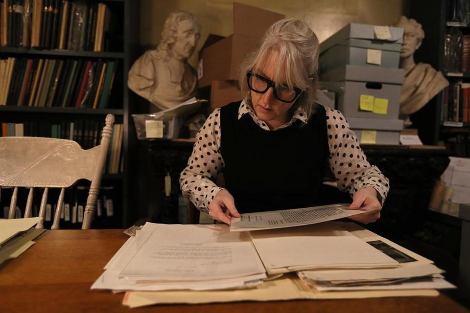 Medford, Ma.,12/21/16, Kyna Hamill is a volunteer at at the Medford Historical Society & Museum. She has been doing new research on the oft-repeated tale that Jingle Bells was written in Medford. Suzanne Kreiter/Globe staff)