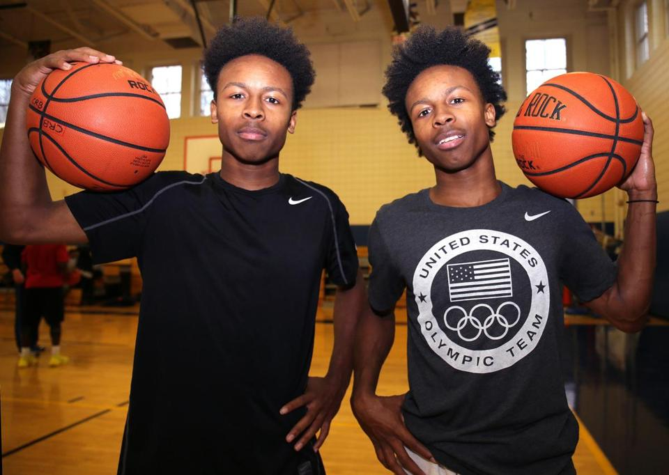 Hyde Park, MA - 12/20/2016 - High school boys' basketball feature - L to R: Charles and Charlie Mitchell, senior twins who form the starting backcourt for the New Mission boys' basketball team. - (Barry Chin/Globe Staff), Section: Sports, Reporter: Owen Pence, Topic: 22schtwins, LOID: 8.3.1059591314.