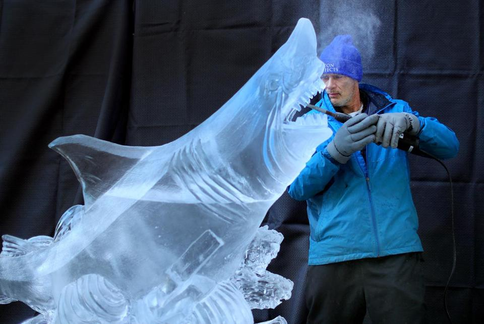 Steven Rose from Ice Effects worked on a shark that is part of a nautical themed piece of ice work to be on display in Boston for First Night 2017.