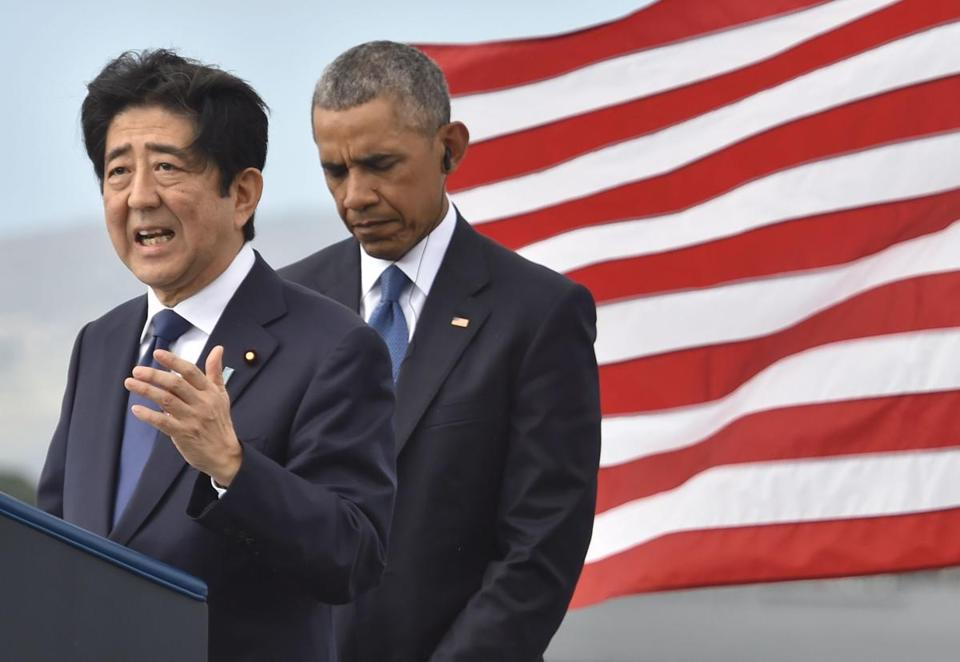 Abe spoke during his visit to the memorial at Pearl Harbor.