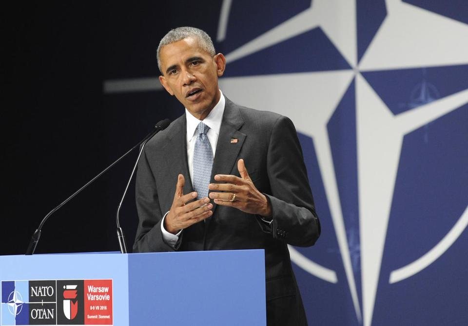 FILE - In this July 9, 2016, file photo, President Barack Obama speaks at the NATO Summit, in Warsaw, Poland. Obama's foreign policy legacy may be defined as much by what he didn't do as what he did. (AP Photo/Alik Keplicz, File)