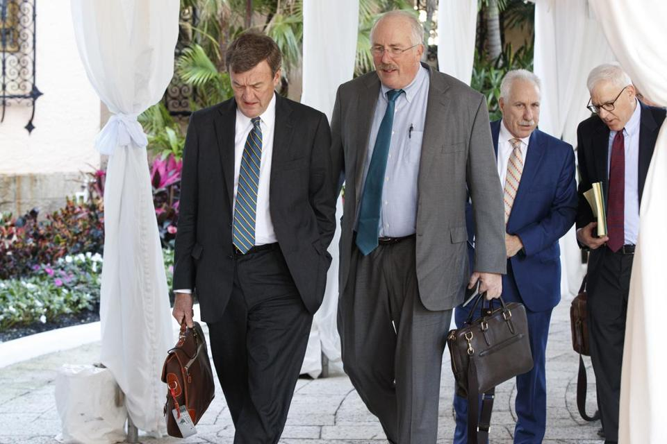 Mayo Clinic chief executive John Noseworthy, left, talked with Partners HealthCare chief executive Dr. David Torchiana as they arrived for a meeting with President-elect Donald Trump Wednesday.