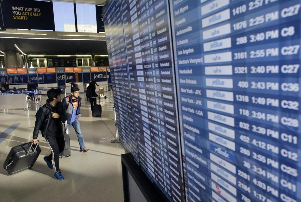 According to global aviation data service FlightAware, more than 400 flights at Logan Airport were delayed and at least 86 were canceled as of 9 p.m.