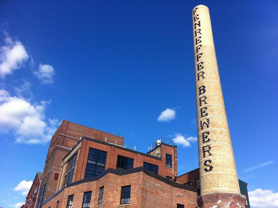 The chimney at the old Haffenreffer Brewery site had been missing its first three letters for about 30 years.