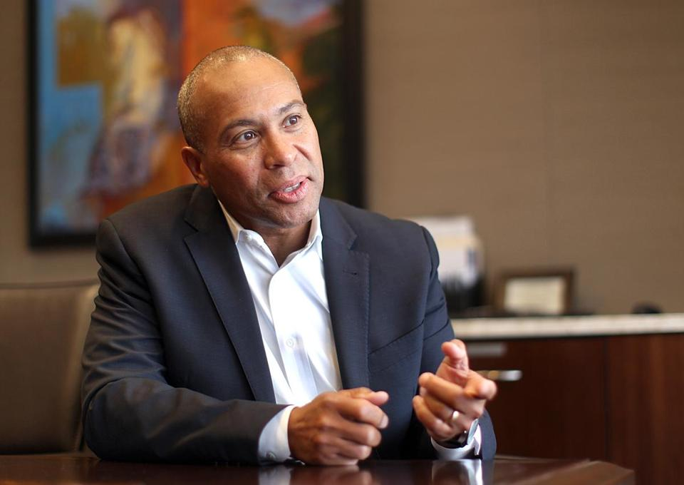 Boston, MA., 04/13/15, STORY AND PHOTO EMBARGOED UNTIL 9:00PM APRIL 13, 2015) Deval Patrick will work at Bain Capital. Suzanne Kreiter/Globe staff -- 0607Diversityleaders