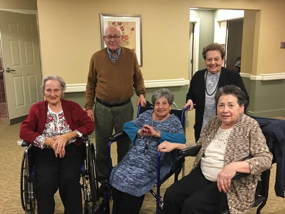 The five siblings at the the Brudnick Center for Living in Peabody (from left) Carmen Wesala, age 98, Lawrence (Larry) Mallia, age 90; Mary Cena, age 92; Georgia Southwick. age 93; and Lucy O'Brien; age 85 (handout)