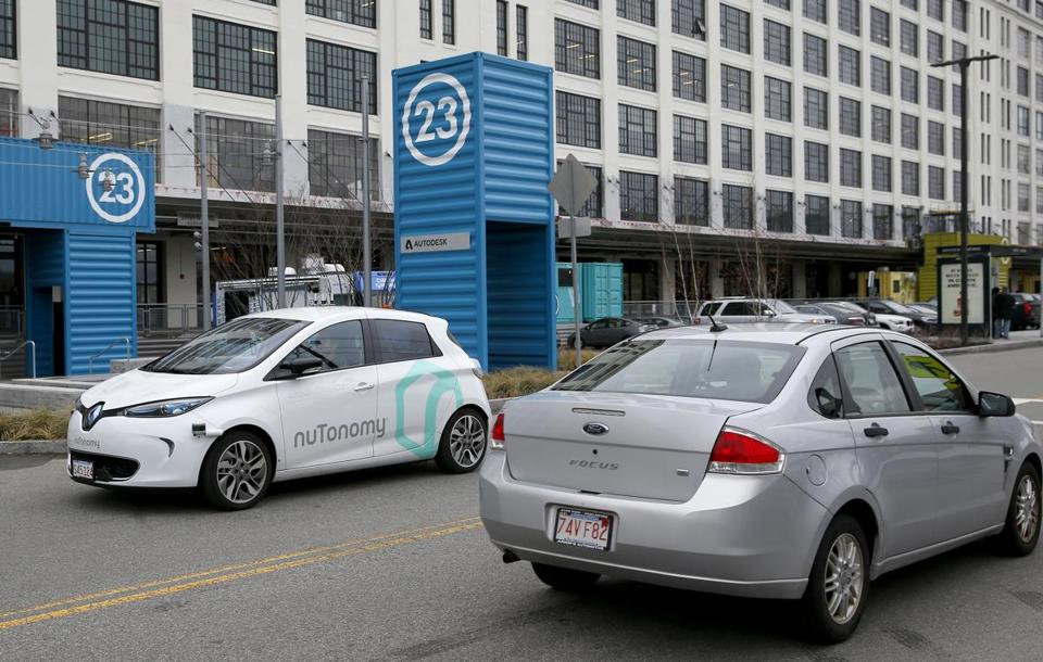 South Boston, MA -- 1/4/2017 - NuTonomy's driverless car takes a spin around Drydock Ave. (Jessica Rinaldi/Globe Staff) Topic: 05driverlesscar Reporter: