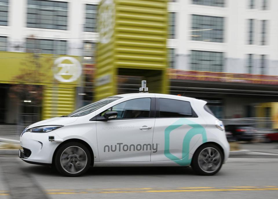 NuTonomy's driverless car took a spin around Drydock Avenue in the Seaport.