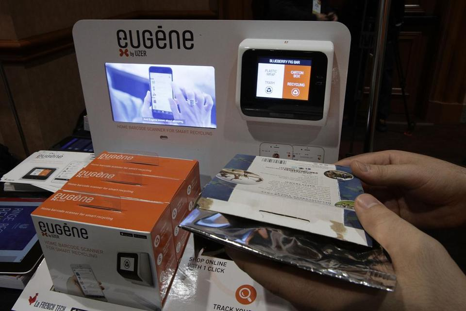 LAS VEGAS, NV - JANUARY 03: Eugene by UZER, a device that can help to improve home trash recycling, then shop online for replenishment with mobile app, track daily consumption and get reward and save money, is seen during a press event for CES 2017 at the Mandalay Bay Convention Center on January 3, 2017 in Las Vegas, Nevada. CES, the world's largest annual consumer technology trade show, runs from January 5-8 and is expected to feature 3,800 exhibitors showing off their latest products and services to more than 165,000 attendees. (Photo by Alex Wong/Getty Images)