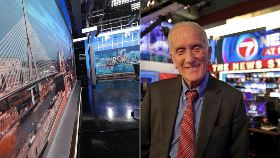 The NBC Boston studio (left); Ed Ansin, owner of WHDH, in his newsroom (right).
