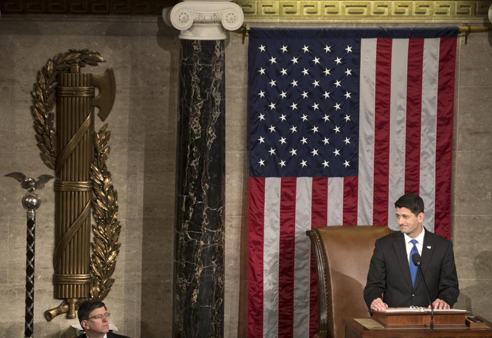 FILE-- House Speaker Paul Ryan (R-Wis.) during the opening of the 115th U.S. Congress in the chambers of the House of Representatives at the Capitol in Washington, Jan. 3, 2017. House Republicans couldnÕt stop themselves from trying to dilute the power of a despised ethics watchdog as their first order of business. In the process, they created a spectacle that pretty much ruined an opening-day celebration of unified Republican government, undermined their own leadership and perhaps foretold the shape of things to come. (Stephen Crowley/The New York Times)
