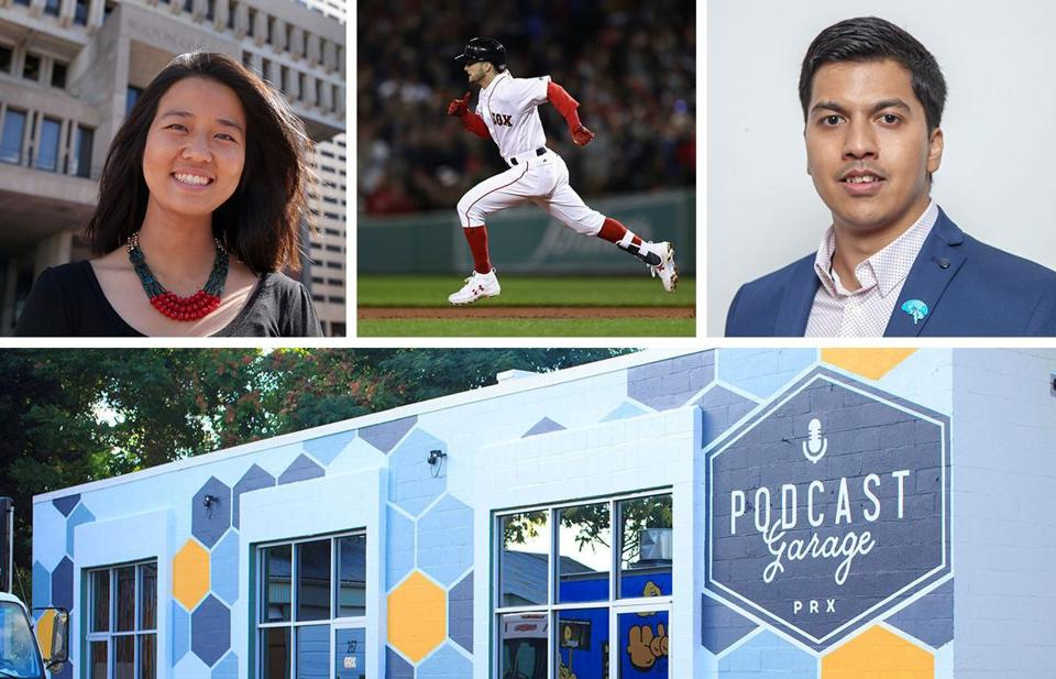 From top left: City Councilor MIchelle Wu, Red Sox outfielder Andrew Benintendi, MIT researcher Dheeraj Roy, and the Podcast Garage.