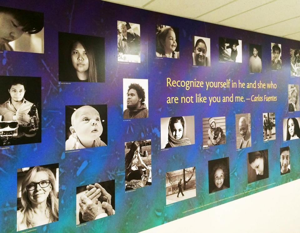"""Diversity"" is one of two new murals hanging in the Dimitry Building on the Lawrence Campus. This was part of a service learning project created by NECC digital photography students. (Northern Essex CC)"