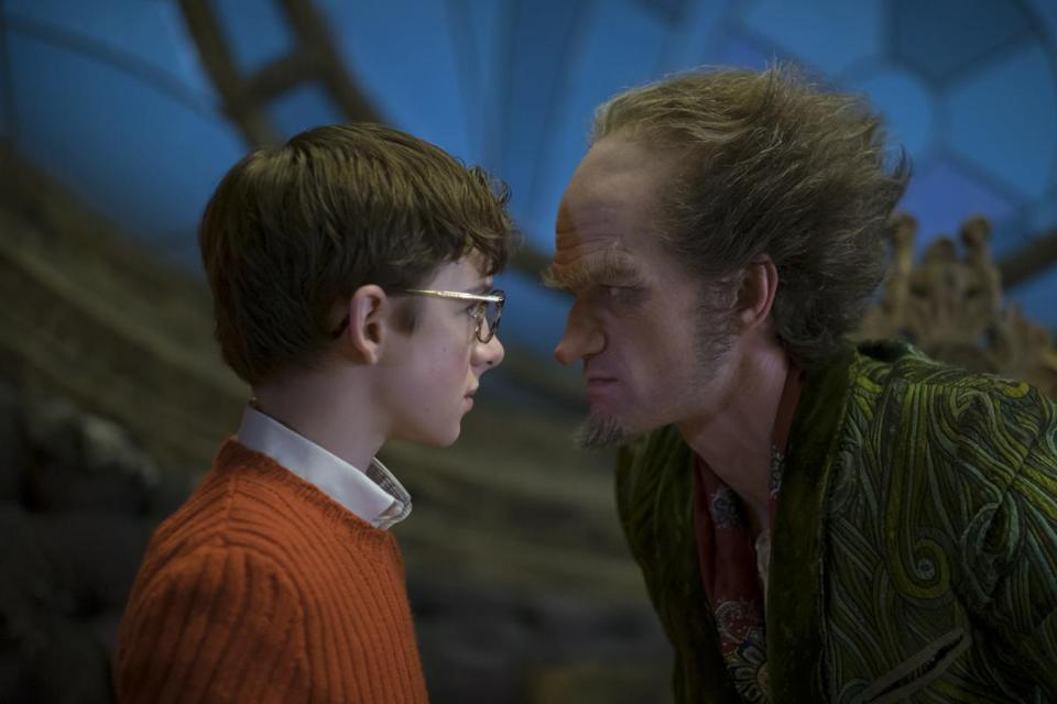 "Louis Hynes and Neil Patrick Harris in ""A Series of Unfortunate Events."""