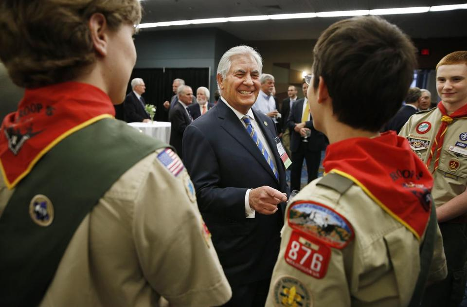 Rex Tillerson, who is a former national president of Boy Scouts of America, spoke with scouts during a reception last year.