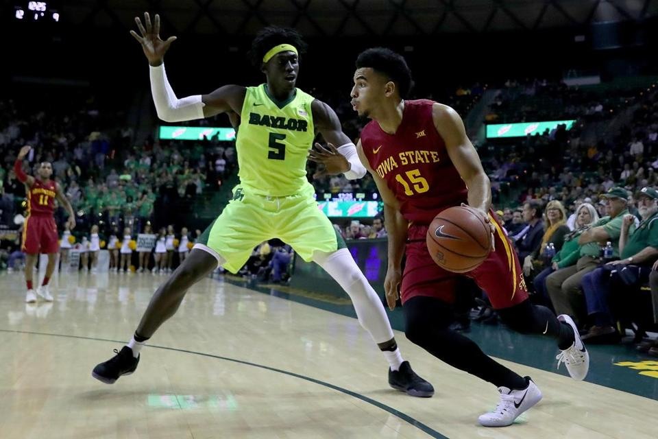 WACO, TX - JANUARY 04: Nazareth Mitrou-Long #15 of the Iowa State Cyclones drives to the basket against Johnathan Motley #5 of the Baylor Bears in the first half at Ferrell Center on January 4, 2017 in Waco, Texas. (Photo by Tom Pennington/Getty Images)