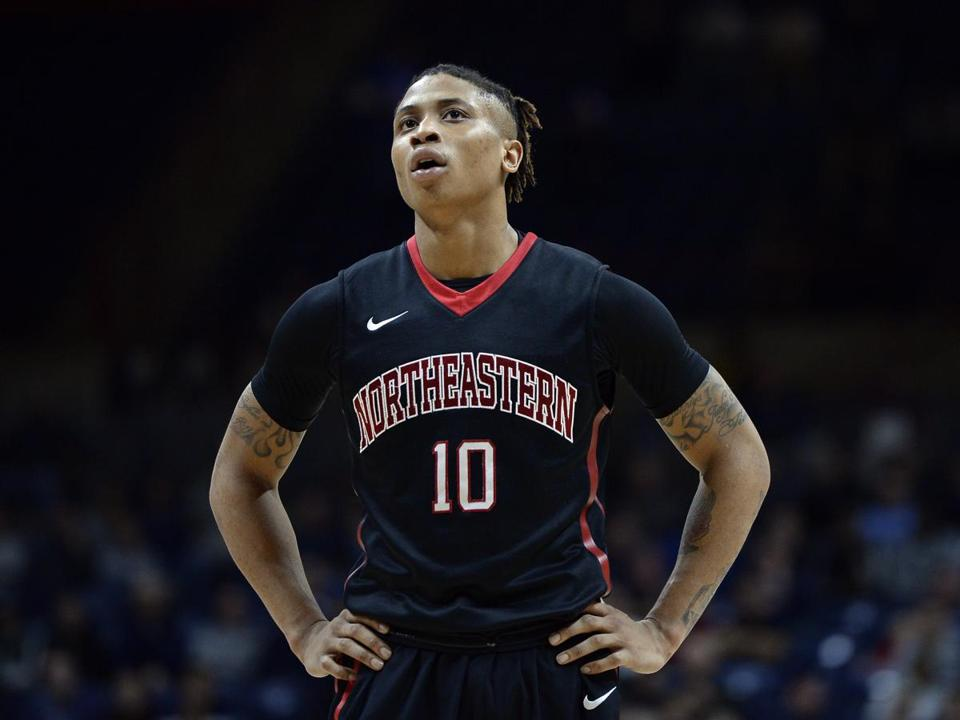 Northeastern's TJ Williams in the second half of an NCAA college basketball game, Monday, Nov. 14, 2016, in Storrs, Conn. (AP Photo/Jessica Hill)