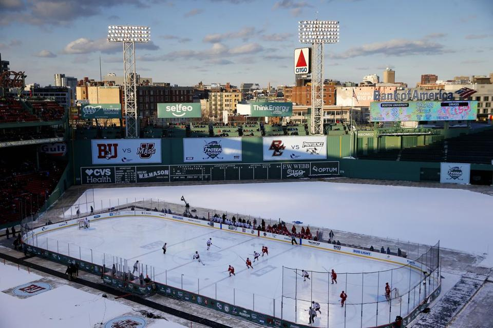 Boston, MA -- 1/8/2017 - The game between BU and UMass is seen from above during the third period of play at Fenway Park. (Jessica Rinaldi/Globe Staff) Topic: Reporter: