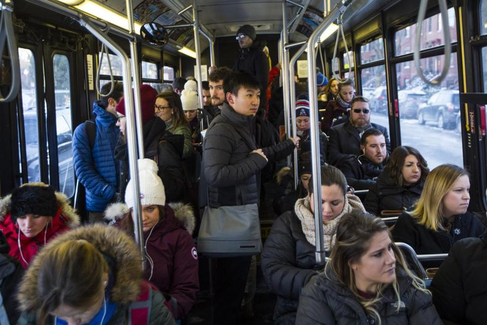 Passengers rode the Route 7 bus in Boston last week.