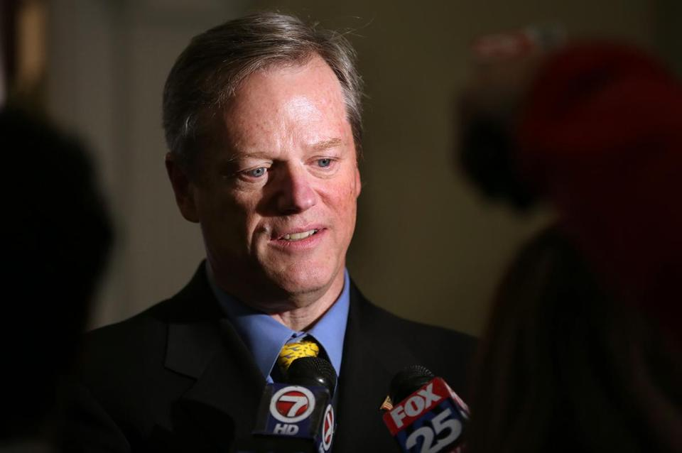 Boston, MA--2/26/2015--Governor Charlie Baker (cq) talks to the media about his meeting with Keolis executive Bernard Tabary (cq), at the State House, on Thursday, February 26, 2015. Pat Greenhouse/Globe Staff Topic: 27keolis Reporter: XXX
