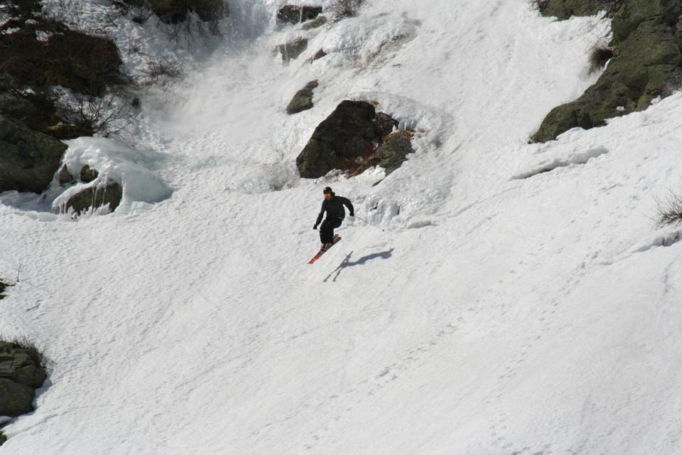 A skier takes on Tuckerman Ravine on Mt. Washington.