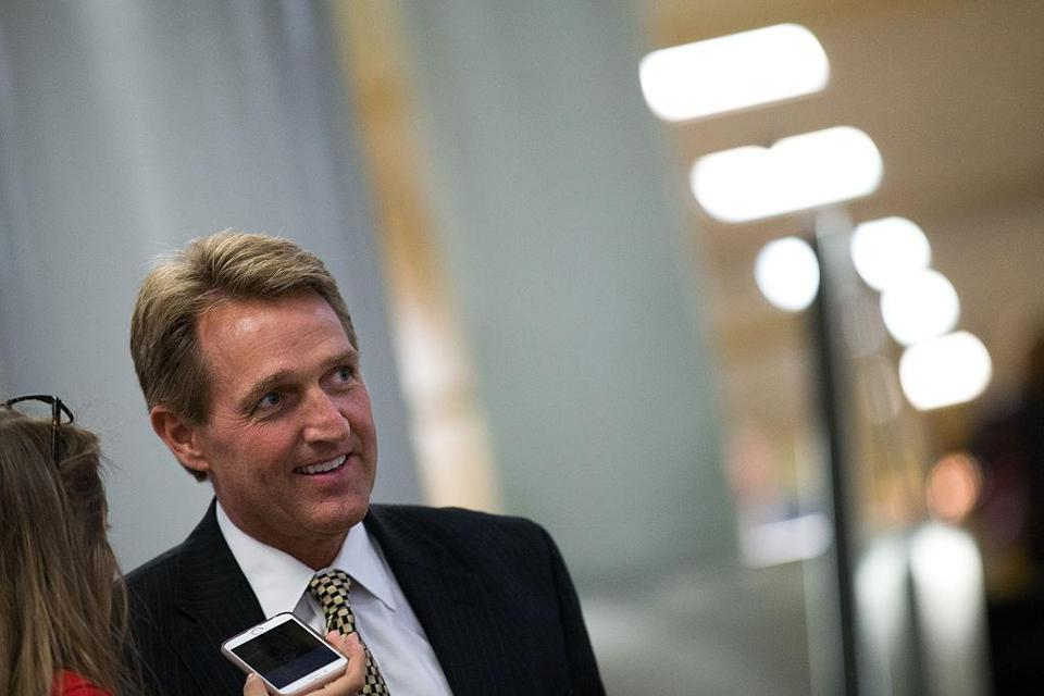 WASHINGTON, DC - MAY 9: Sen. Jeff Flake (R-AZ) speaks with reporters after a vote at the U.S. Capitol, May 9, 2016, in Washington, DC. Senate Democrats defeated a procedural vote on an energy bill, which increases funding for the Department of Energy and Army Corps of Engineers. (Photo by Drew Angerer/Getty Images)