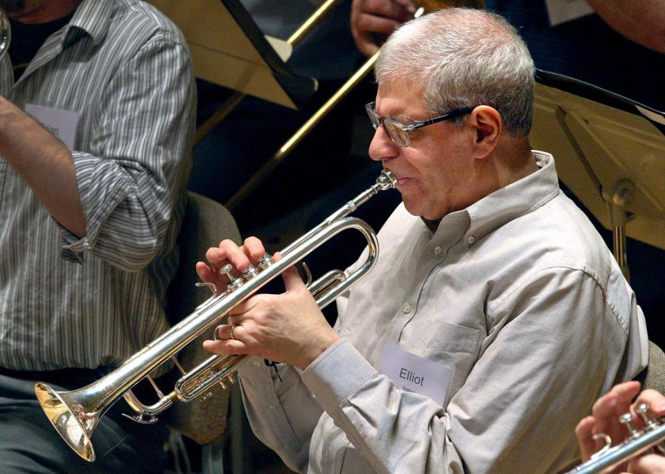 "Elliot Pittel played the trumpet during a rehearsal for ""Onstage at Symphony."""