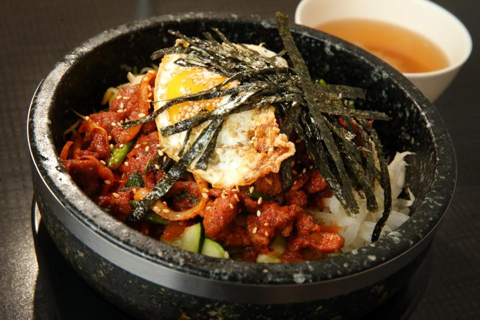 Spicy pork bibimbap at K Restaurant.
