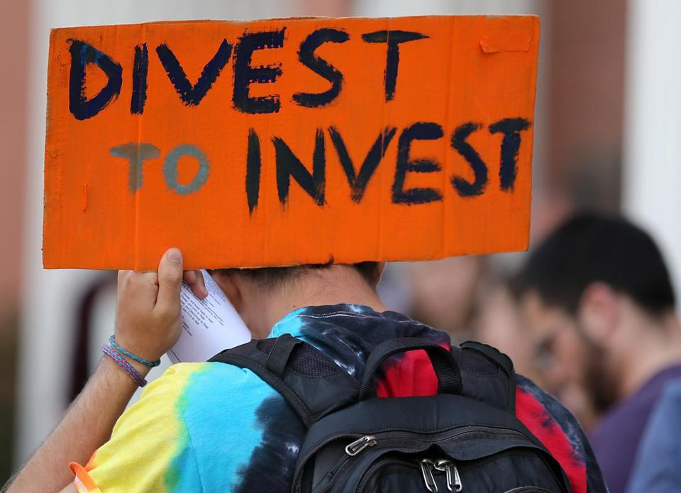 In 2015, Tufts University students held a sit-in to pressure the administration to divest the school's investments tied to fossil fuels.