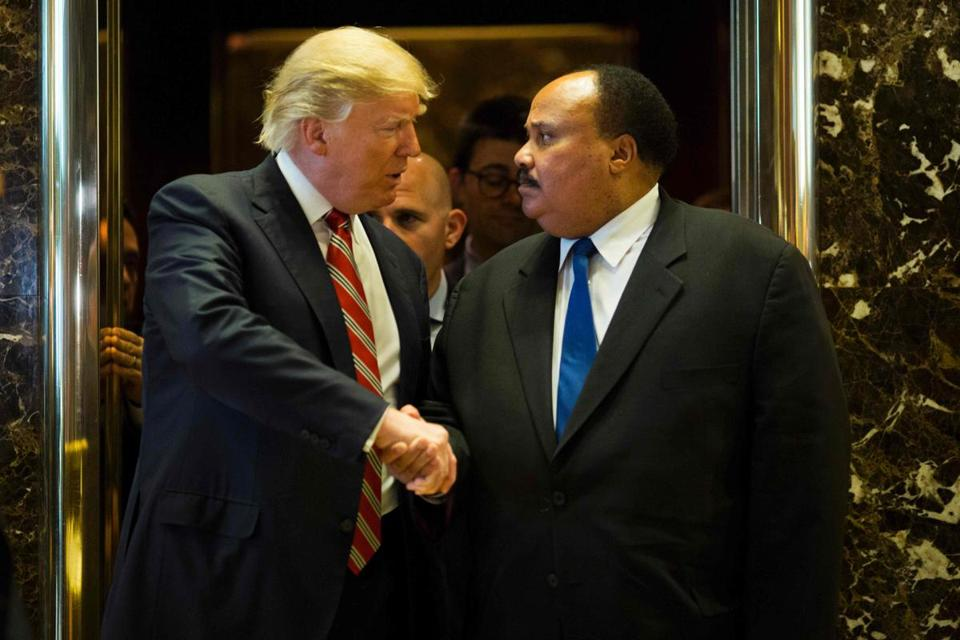 President-elect Donald Trump shook hands with Martin Luther King III after Monday's meeting at Trump Tower.