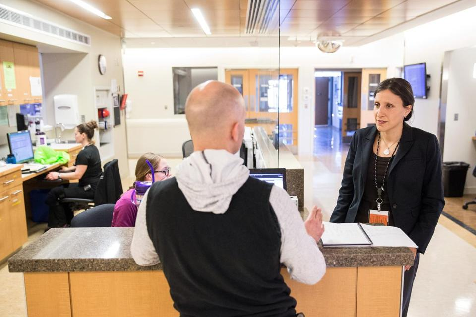 Chaplain Alyssa Adreani spoke with physical therapy supervisor David Nicoloro at Newton-Wellesley Hospital.
