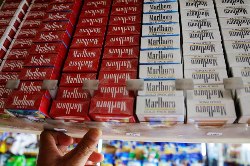 Packs of cigarettes for sale at a convenience store in Somerville.