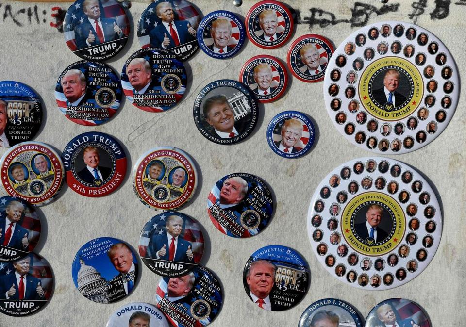 Souvenir buttons were seen on sale at a stand near the White House.